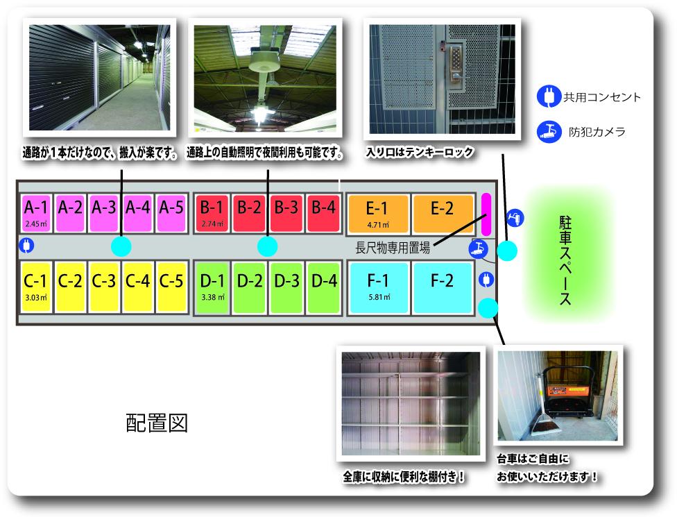 レンタル収納庫 堺宿院駅南配置図